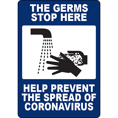 THE GERMS STOP HERE SIGN