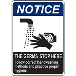 NOTICE THE GERMS STOP HERE SIGN