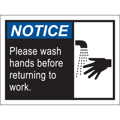 Notice Please Wash Hands Before Returning to Work Poster