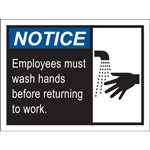Notice Employees Must Wash Hands Before Returning to Work Poster