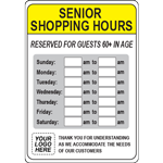 Custom Senior Shopping Hours Sign