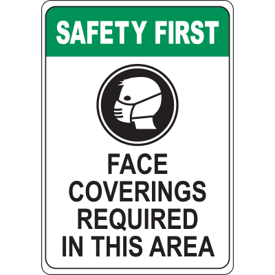 Face Coverings Required in This Area Sign