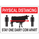 Physical Distancing Stay One Dairy Cow Apart Sign