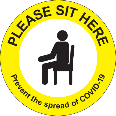 Please Sit Here Label for transit, waiting rooms, or other congregate areas