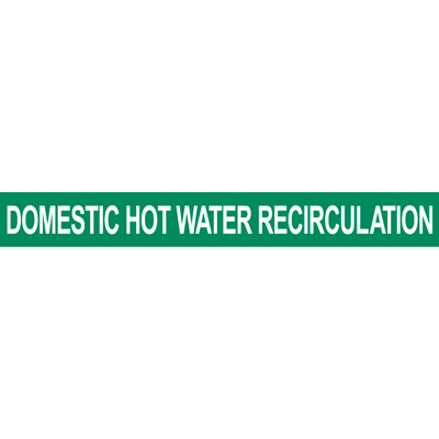 Domestic Hot Water Recirculation Pipe Marker for Water