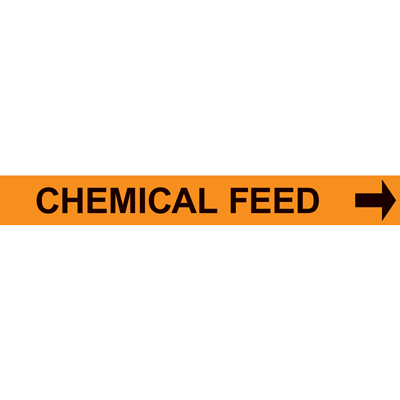 CHEMICAL FEED PIPE MARKER W/ ARROW