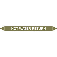 HOT WATER RETURN European Pipe Marker