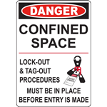 DANGER CONFINED SPACE LOCK-OUT & TAG-OUT PROCEDURES MUST BE IN PLACE BEFORE ENTRY IS MADE SIGN