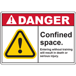 DANGER Confined space Entering without training will result in death or serious injury SIGN
