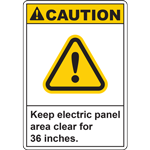 CAUTION Keep electric panel area clear for 36 inches SIGN