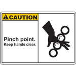 CAUTION PINCH POINT KEEP HANDS CLEAR SIGN