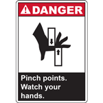 DANGER PINCH POINTS WATCH YOU HANDS SIGN