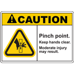 CAUTION PINCH POINT KEEP HANDS CLEAR MODERATE INJURY MAY RESULT SIGN