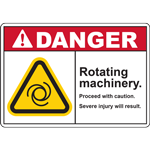 DANGER ROTATING  MACHINERY PROCEED WITH CAUTION SEVER INJURY WILL RESULT SIGN