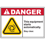 DANGER THIS EQUIPMENT STARTS AUTOMATICALLY STAY CLEAR SIGN