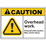 CAUTION OVERHEAD WORK PROCEED WITH CAUTION MAY CAUSE INJURY SIGN