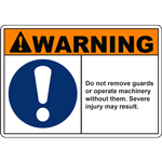 WARNING DO NOT REMOVE GUARDS OR OPERATE MACHINERY WITHOUT THEM SEVERE INJURY MAY RESULT SIGN