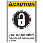 CAUTION Lock out for safety Failure to lock out may result in injury SIGN