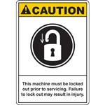 CAUTION This machine must be locked out prior to servicing Failure to lock out may result in injury SIGN