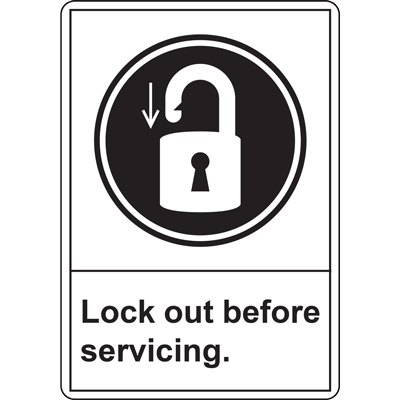 LOCK OUT BEFORE SERVICING SIGN