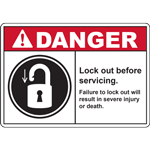 DANGER Lock out before servicing Failure to lock out willresult in severe injury or death SIGN