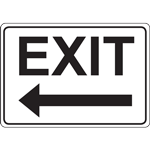 EXIT WITH LEFT ARROW - BLACK ON WHITE SIGN
