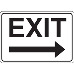 EXIT WITH RIGHT ARROW - BLACK ON WHITE SIGN