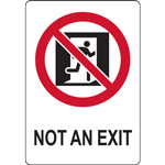 NOT AN EXIT WITH SYMBOL SIGN
