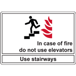 In case of fire do not use elevators Use stairways SIGN
