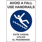 AVOID A FALL USE HANDRAILS EVITE CAIDAS UTILICE EL PASAMANOS SIGN