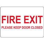 FIRE EXIT PLEASE KEEP DOOR CLOSED SIGN