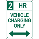 2 HR  VEHICLE  CHARGING ONLY SIGN