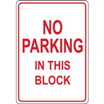 NO PARKING IN THIS BLOCK SIGN