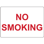 NO SMOKING - LANDSCAPE - RED ON WHITE SIGN