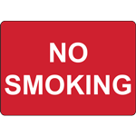 NO SMOKING - LANDSCAPE - WHITE ON RED SIGN