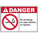 DANGER No smoking,  no open flames,  or sparks. SIGN