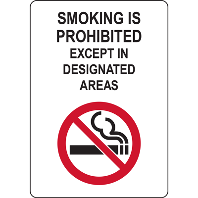 SMOKING IS PROHIBITED EXCEPT IN  DESIGNATED  AREAS SIGN