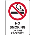 NO SMOKING ON THIS PROPERTY SIGN