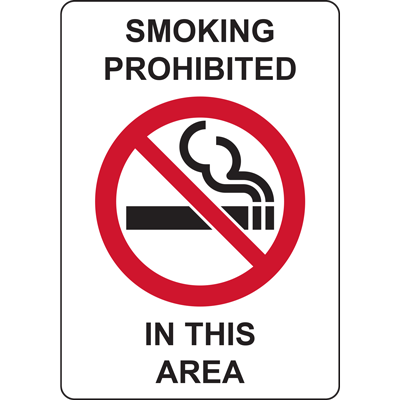 SMOKING PROHIBETED IN THIS AREA SIGN