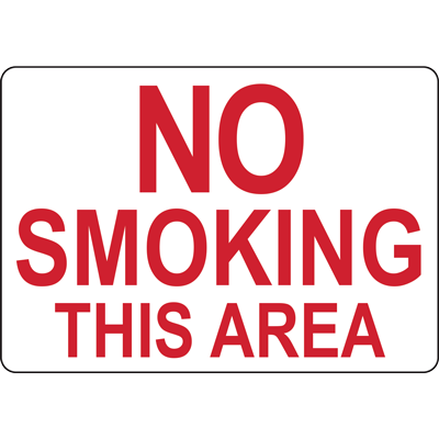 NO SMOKING THIS AREA SIGN