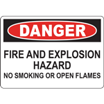 DANGER FIRE AND EXPLOSION HAZARD NO SMOKING OR OPEN FLAMES SIGN