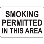 SMOKING PERMITTED IN THIS AREA SIGN