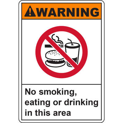 WARNING No smoking, eating or drinking in this area SIGN