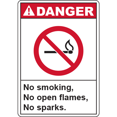 DANGER No smoking, No open flames, No sparks. SIGN