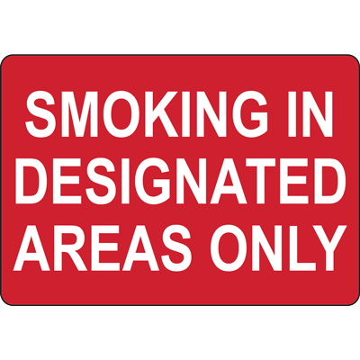 SMOKING IN DESIGNATED AREAS ONLY SIGN