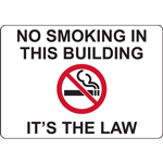 NO SMOKING IN THIS BUILDING IT'S THE LAW SIGN
