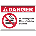 DANGER No smoking within 15 feet of building entrances SIGN