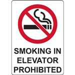 SMOKING IN ELEVATOR PROHIBITED SIGN