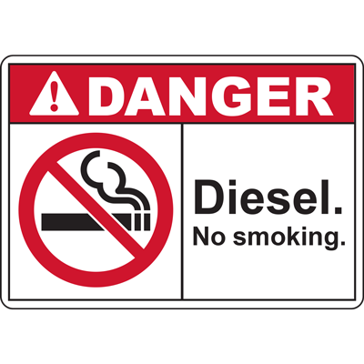 DANGER Diesel. No smoking. SIGN