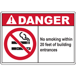 DANGER No smoking within 20 feet of building entrances SIGN